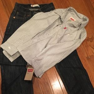 Levi Boys size7 shirt and jeans
